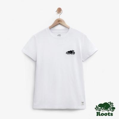 女裝Roots-網眼布LOGO短袖T恤-白色