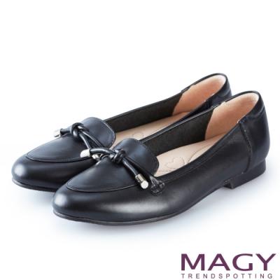 MAGY 經典英倫 簡約平結真皮平底鞋-黑色