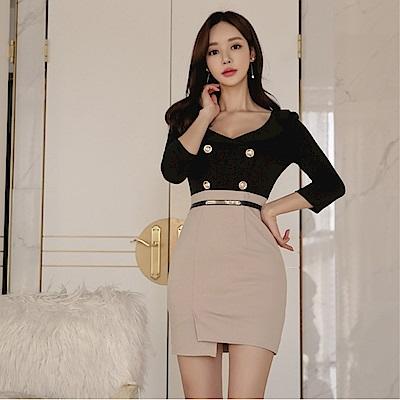 DABI 韓系大V領性感拼接收腰包臀撞色長袖洋裝
