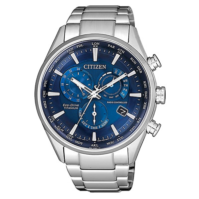 CITIZEN 光動能時尚鈦金屬三眼腕錶-銀X藍(CB5020-87L)/42mm