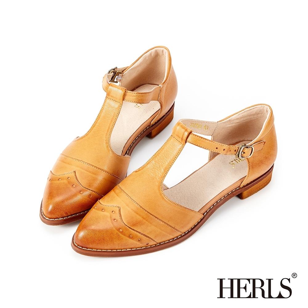 HERLS低跟鞋-全真皮沖孔T字瑪莉珍尖頭低跟鞋-棕色