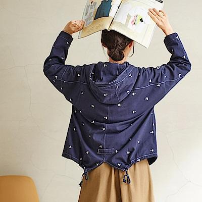 慢 生活 小樹刺繡連帽工裝外套-藍/卡其