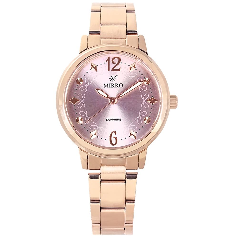 MIRRO 米羅 / 典雅精緻 藍寶石水晶玻璃 不鏽鋼手錶-紫x鍍玫瑰金/32mm