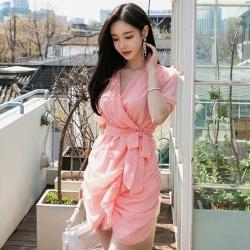 IMStyle 韓版V領縮腰不規則連身裙【正品】