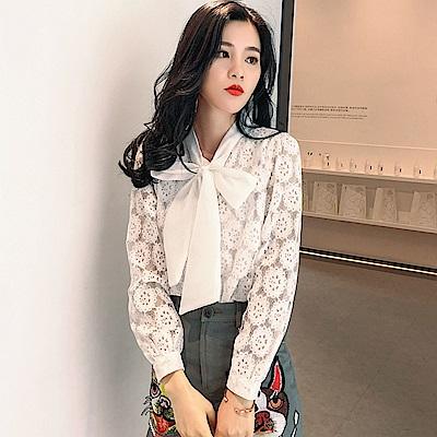 蕾絲鏤空繡花雪紡衫S-2XL-白色戀人