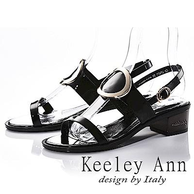 Keeley Ann 獨立性格~大金屬環全真皮中跟涼鞋(黑色-Ann)
