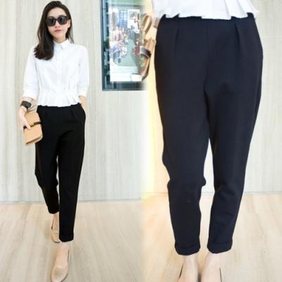 【韓國K.W.】(現貨)素面寬鬆OL工作通勤小腳褲-1色