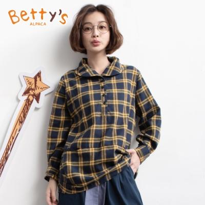 betty's貝蒂思 文藝休閒風配色格紋上衣(黃格紋)