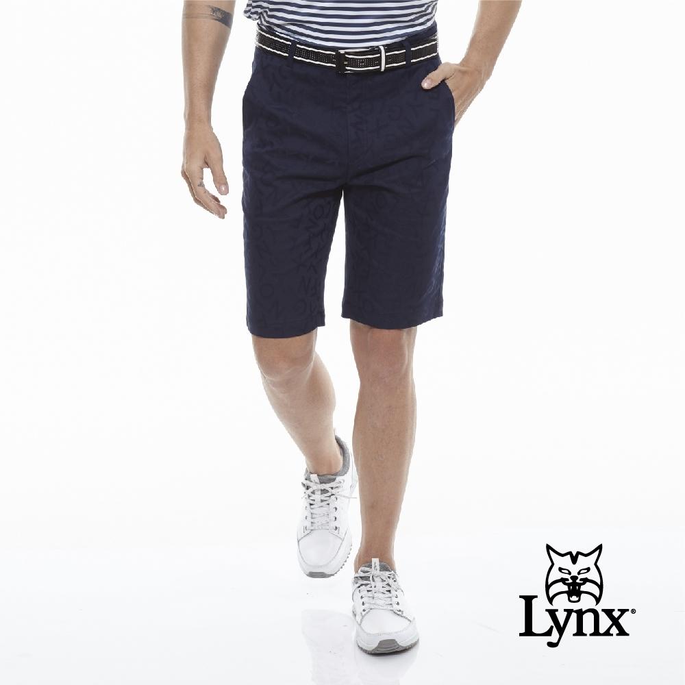 【Lynx Golf】男款Lynx字樣緹織設計平口休閒短褲-深藍色