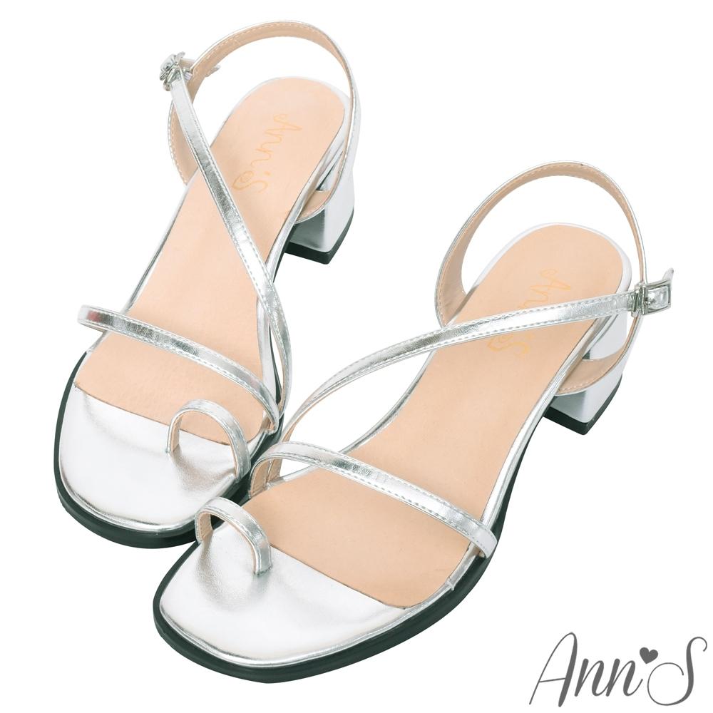 Ann'S怦然時刻-視覺顯瘦斜帶套指方頭粗跟涼鞋-銀
