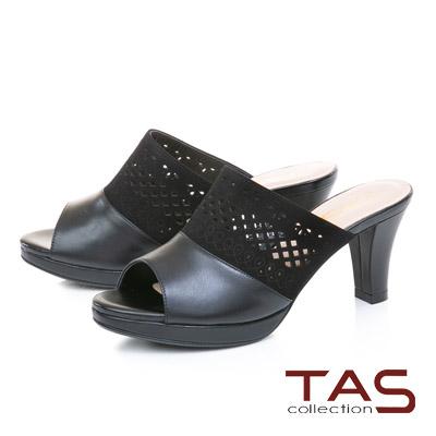 TAS鏤空雕花麂皮拼接魚口粗跟涼拖鞋-時髦黑