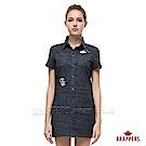 BRAPPERS 女款-繽紛圖騰刺繡連身裙-深藍