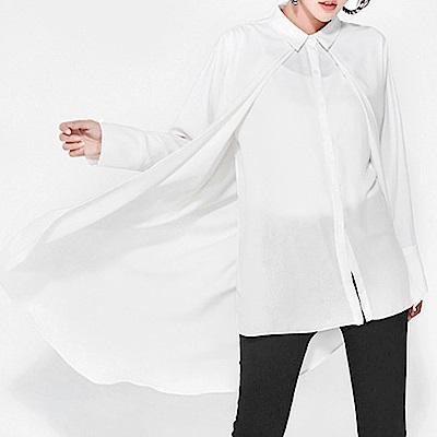 假兩件拼接燕尾擺雪紡襯衫-(共二色)Andstyle