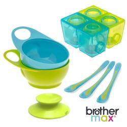 英國 Brother Max 副食品分裝盒,大號+離乳長湯匙3入+學習碗2入+吸盤