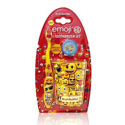 美國熱銷卡通 Emoji 牙刷漱口杯組(適5歲以上)