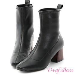 D+AF 知性話題.素面剪裁木紋跟短靴*黑