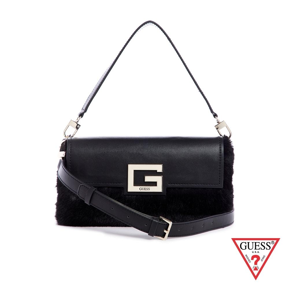 GUESS-女包-時尚絨毛拼接手提肩背包-黑 原價3090