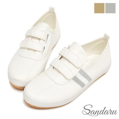 山打努SANDARU-小白鞋 側雙槓魔鬼氈保齡球休閒鞋-白銀