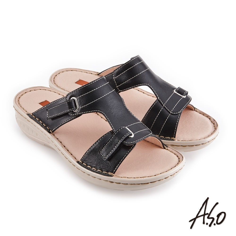 A.S.O 機能休閒 輕量樂活簡約版型休閒拖鞋-黑