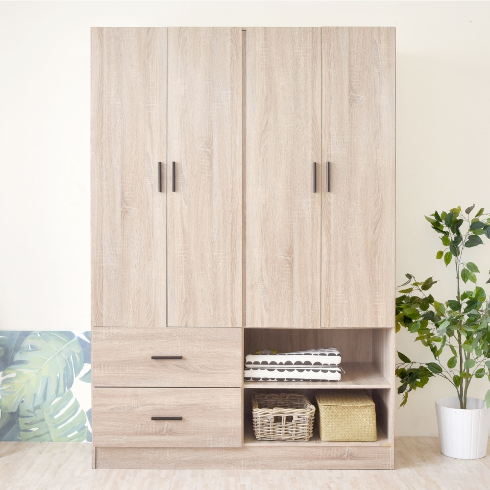 《HOPMA》DIY巧收大空間四門二抽衣櫃/收納櫃-寬121 x深50 x高179.5cm