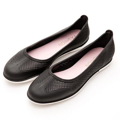 River&Moon防水鞋-晴雨二穿超Q軟沖孔圓頭休閒鞋-黑