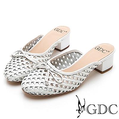 GDC-真皮清秀佳人簍空氣質蝴蝶結拖鞋-白色