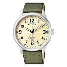 CITIZEN 星辰光動能休閒時尚手錶(BI1050-05X)-米黃X綠/40mm