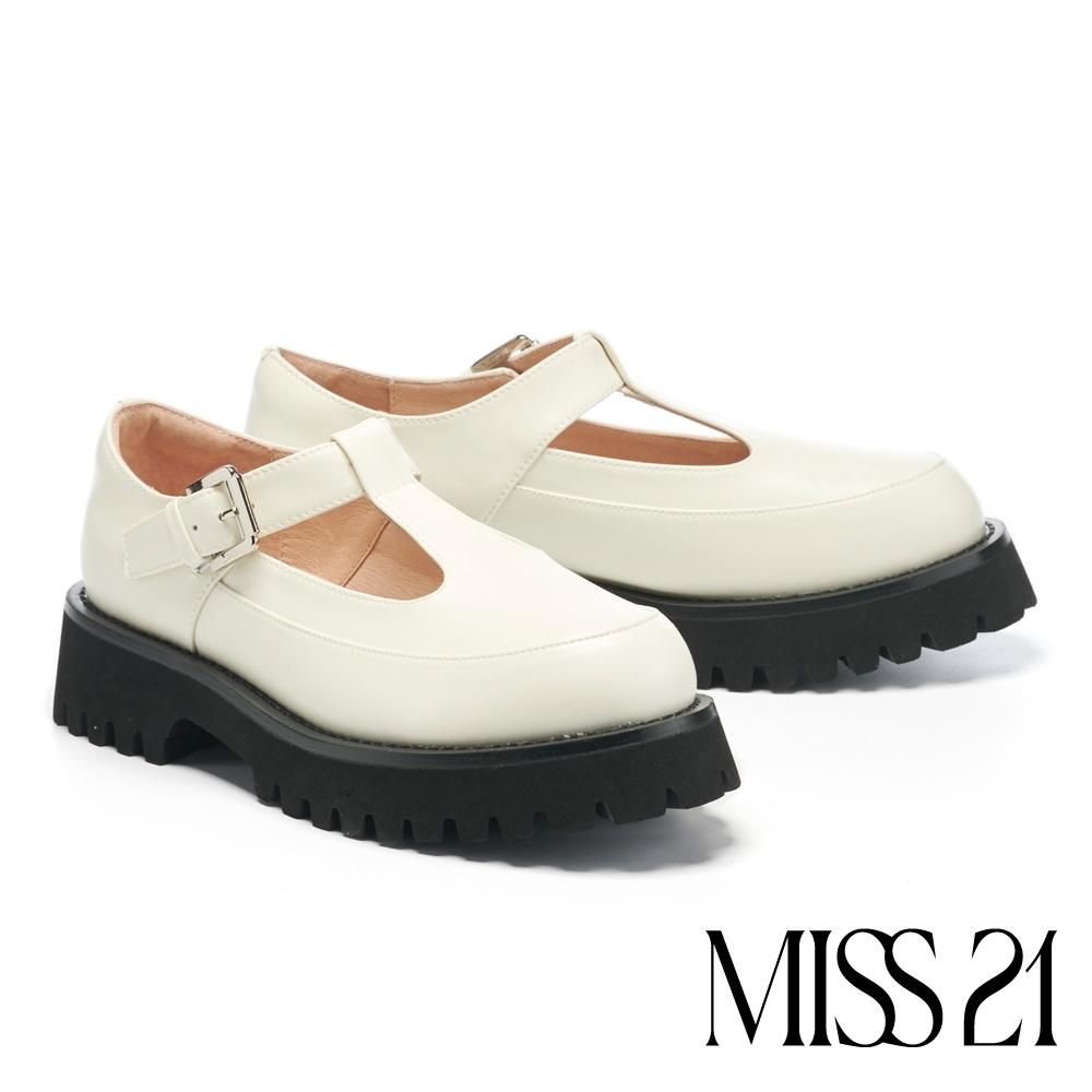 厚底鞋 MISS 21 叛逆甜酷少女T字帶坦克厚底鞋-米