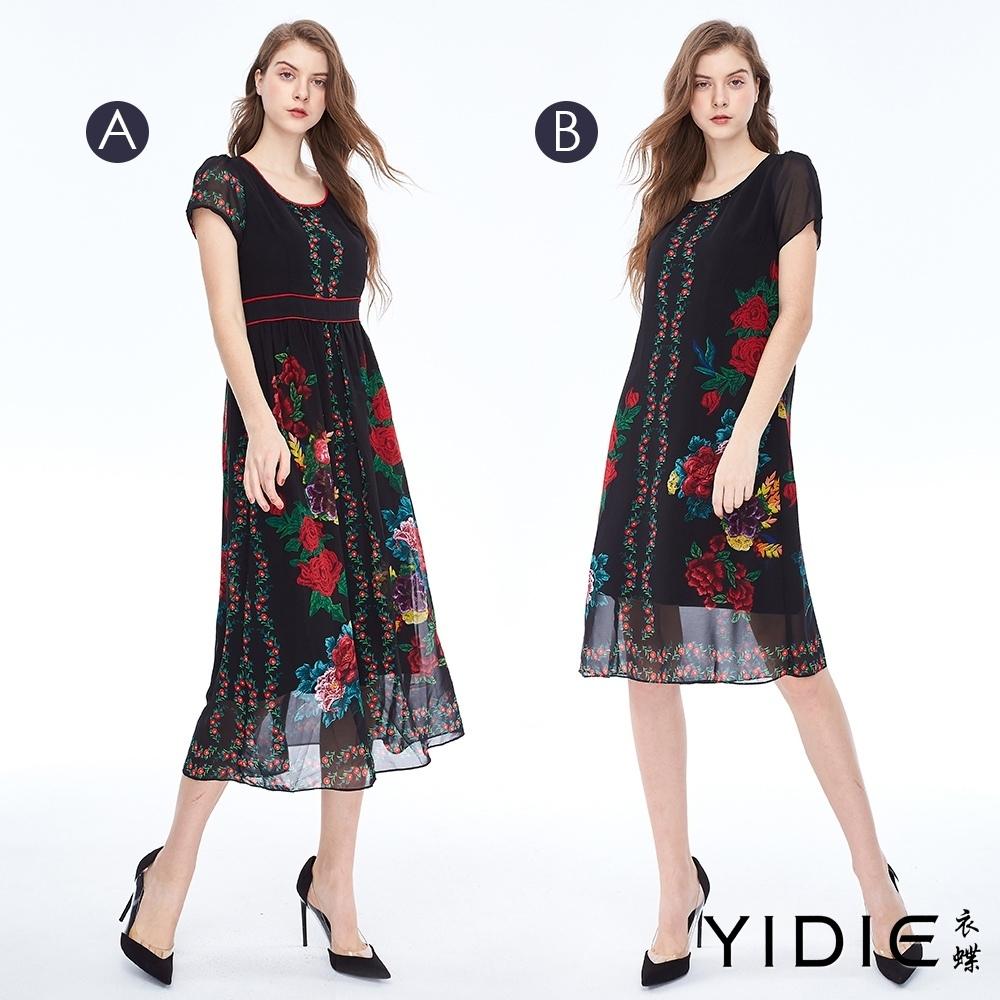 YIDIE衣蝶 玫瑰印花雪紡修身連身洋裝-共兩款