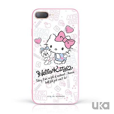 三麗鷗 HelloKitty iPhone 7+/8+ 9H鋼化玻璃彩繪背蓋 - 簡單愛 @ Y!購物