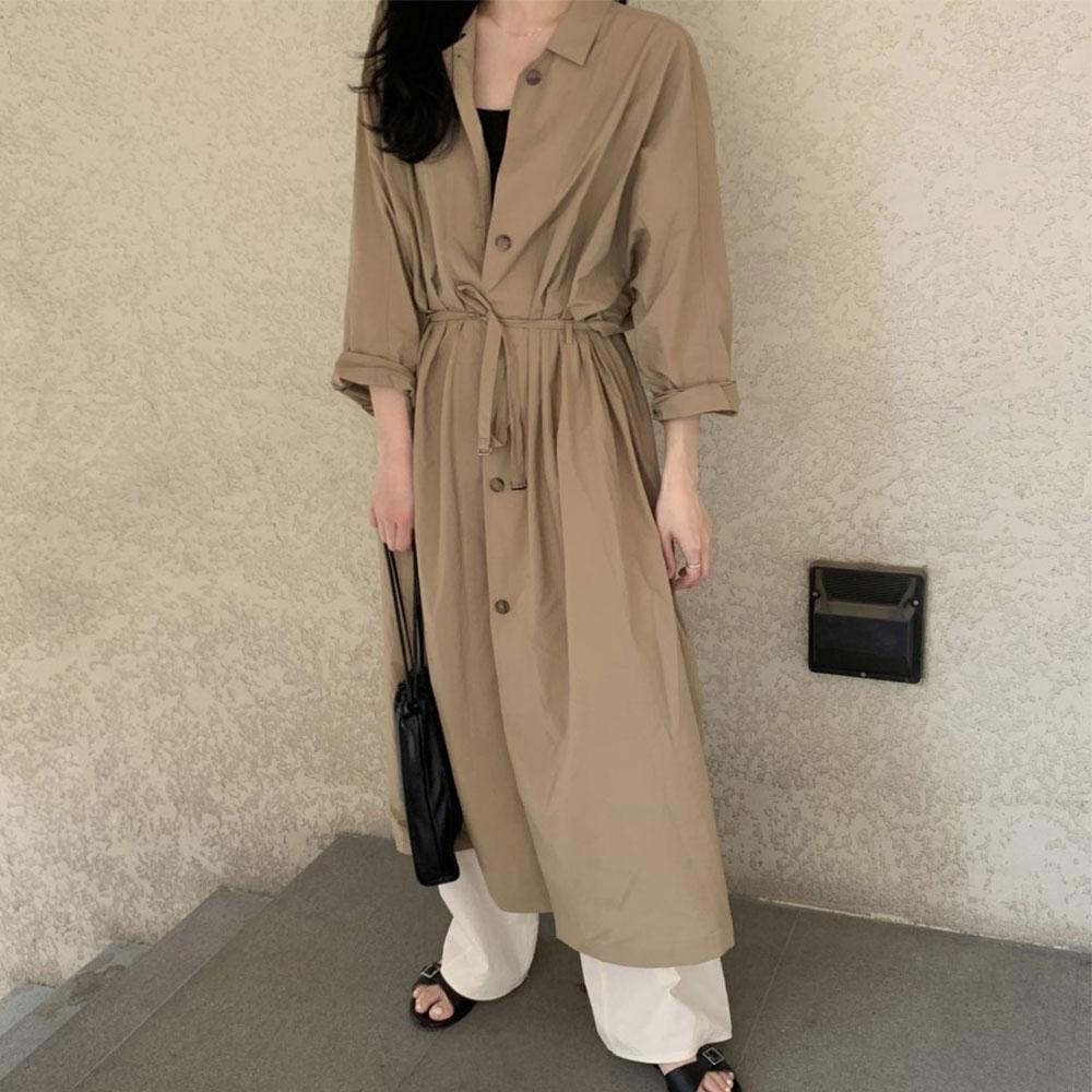 【KISSDIAMOND】休閒復古風衣式單排扣系帶寬鬆洋裝(簡約/百搭/文青風/KDD-2966)