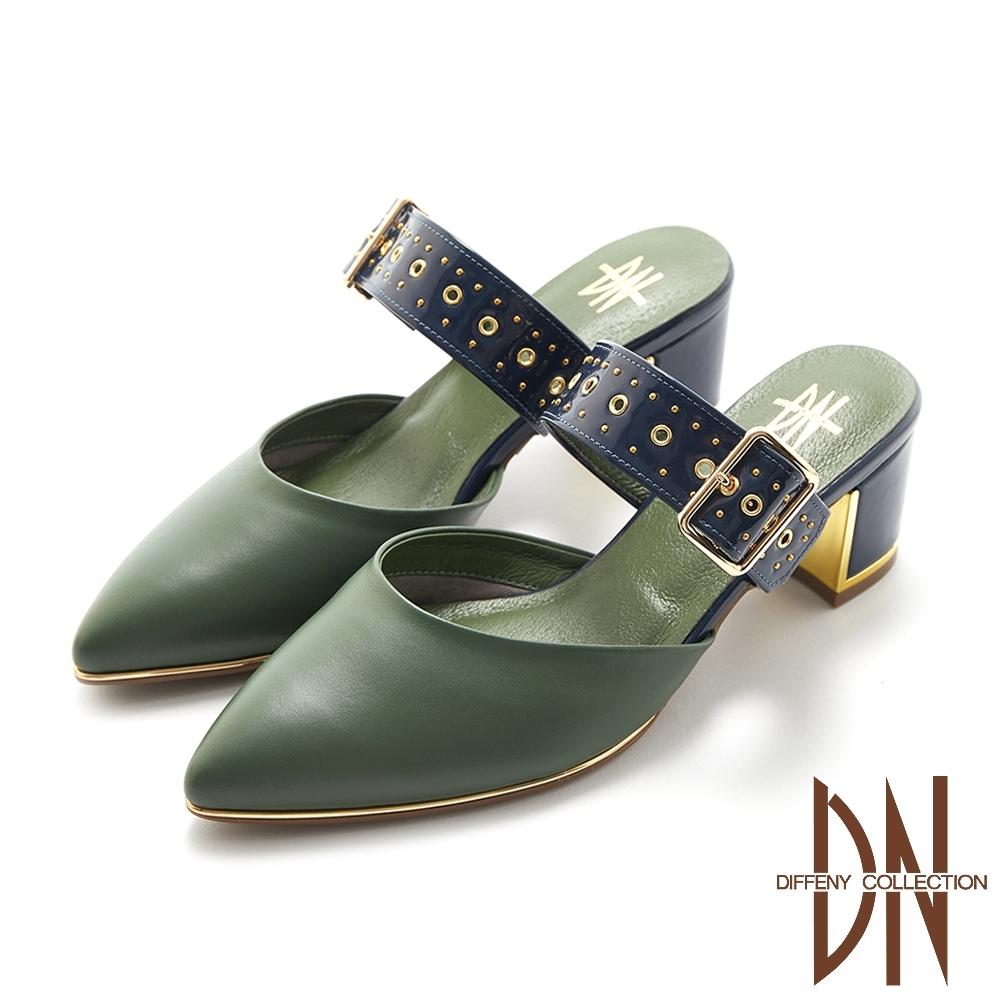DN跟鞋_MIT金屬飾扣拼接真皮涼拖跟鞋-綠