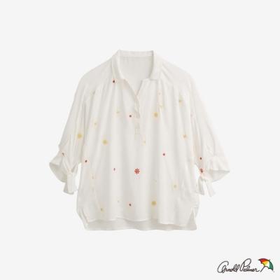 Arnold Palmer-女裝-雛菊繡花半開襟襯衫-白