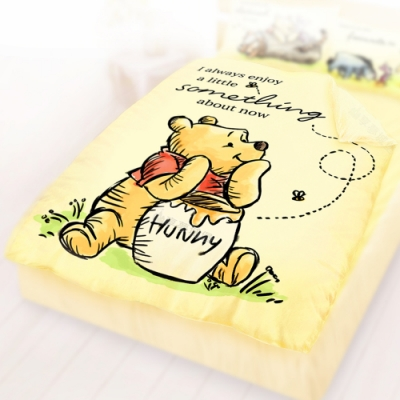 享夢城堡 雙人四季涼被5x6-迪士尼小熊維尼Pooh 蜂蜜小事-米黃.藍