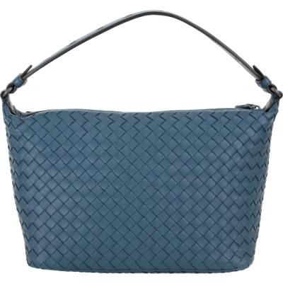 BOTTEGA VENETA Ciambrino Napa 小羊皮寬背帶編織肩背包(藍)