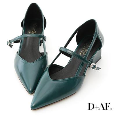 D+AF 摩登女伶.尖頭V口美形低跟鞋*綠