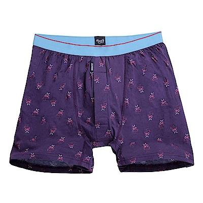sloggi men-寬鬆系列Palm Tree針織平口內褲 M-XXL(紫)