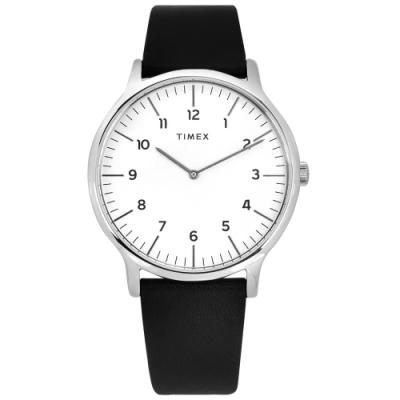 TIMEX 天美時 復刻系列 數字刻度 超薄 礦石強化玻璃 真皮手錶-白x黑/40mm