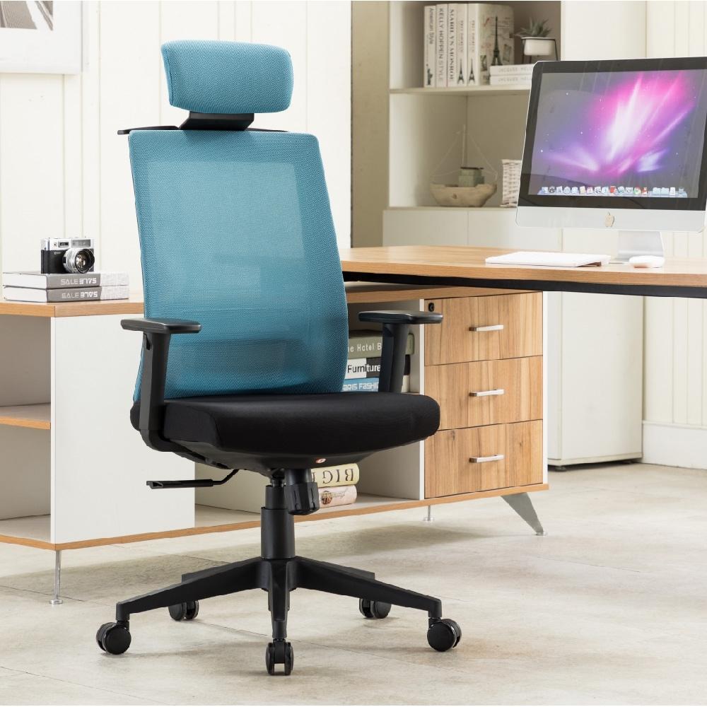 E-home Passion高背半網人體工學電腦椅 藍色