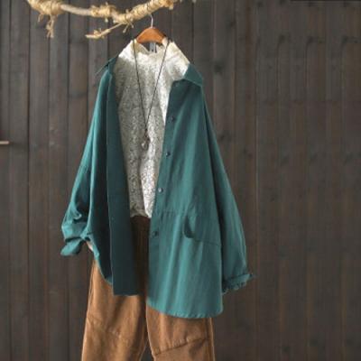 純棉翻領襯衫寬鬆中長版長袖上衣-設計所在
