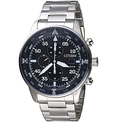 CITIZEN 星辰 飛行風格光動能計時腕錶(CA0690-88E)