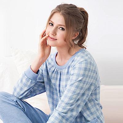 羅絲美睡衣 -愜意生活長袖褲裝睡衣(藍格紋)
