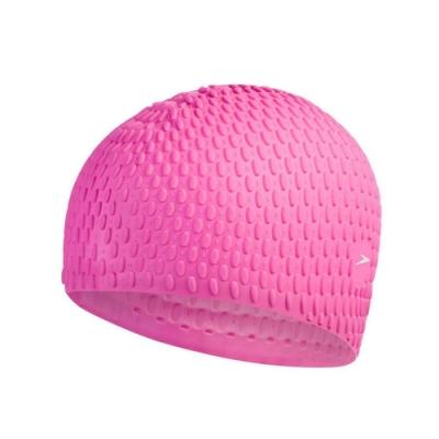 SPEEDO BUBBLE 成人矽膠泳帽-游泳 戲水 海邊 沙灘 SD870929D669 桃紅白