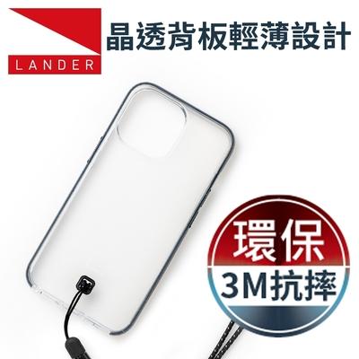 美國 Lander iPhone 13 Pro Max Glacier 冰石環保防摔殼 - 透明/黑 (附手繩)