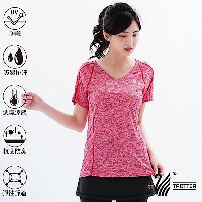 【遊遍天下】MIT女款透氣吸排抗UV速乾運動V領衫GS20008紅色