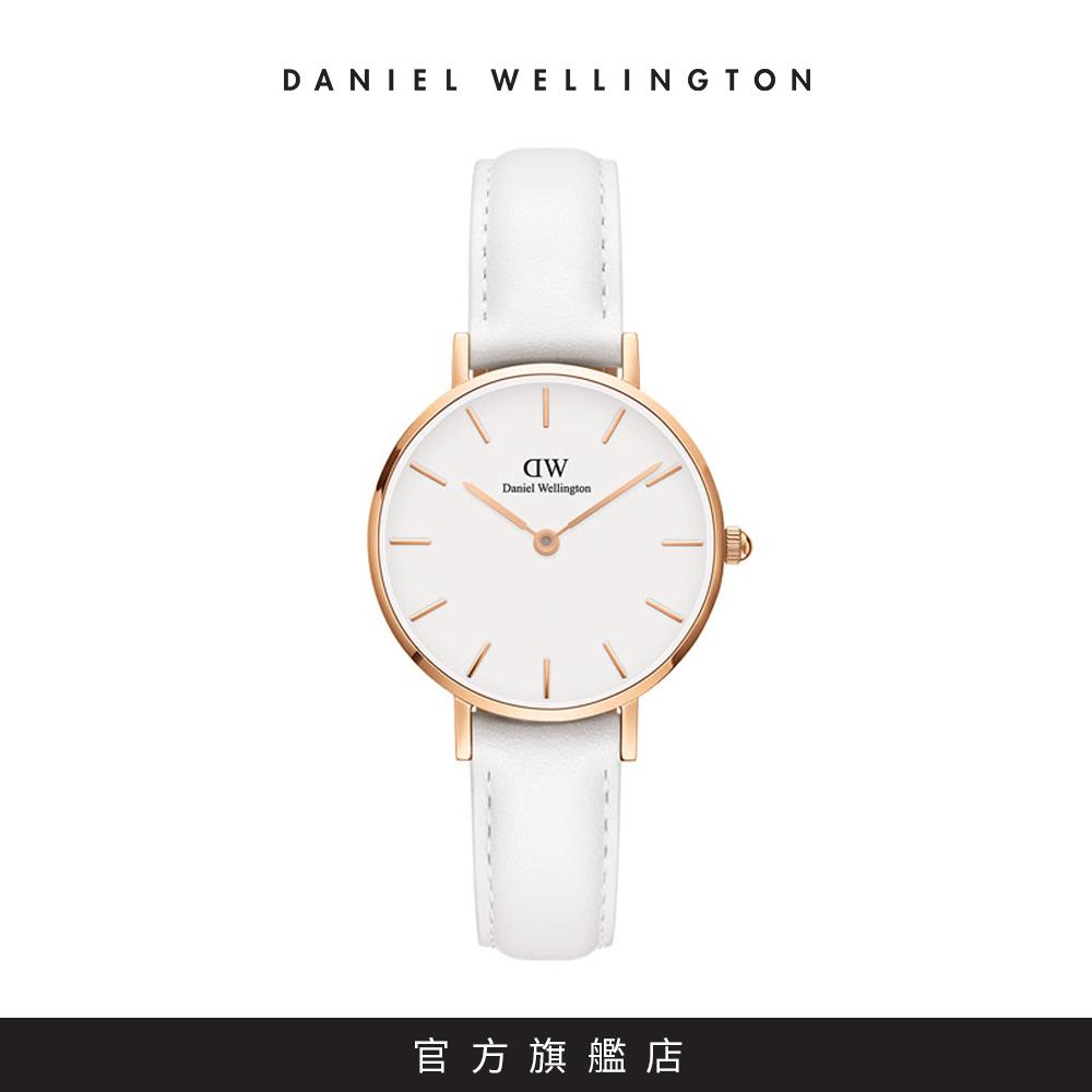 DW 手錶 官方旗艦店 28mm玫瑰金框 Classic Petite 純真白真皮皮革錶 @ Y!購物
