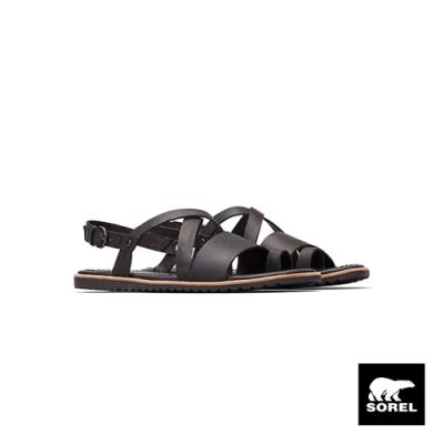 SOREL-女款ELLA 交叉涼鞋-黑色