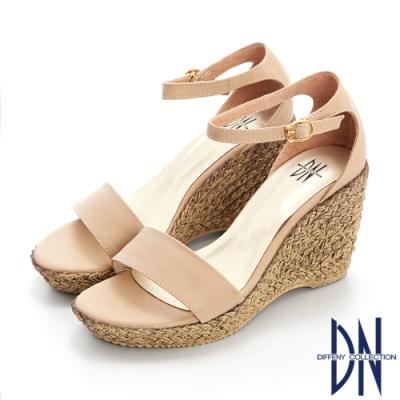 DN涼鞋_MIT素色拼接草編造型楔型涼鞋-米