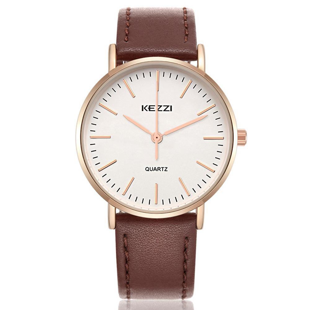 KEZZI 珂紫1687-超薄玫瑰金日系時尚手錶 (2色任選)
