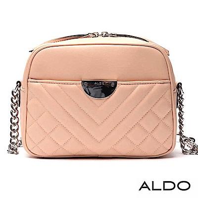 ALDO 原色雙拉鏈幾何車線鏈袋圓角肩揹包~氣質裸粉